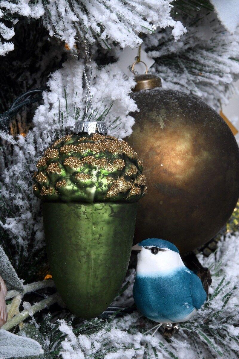 Zielona bombka żołądź 6x10cm