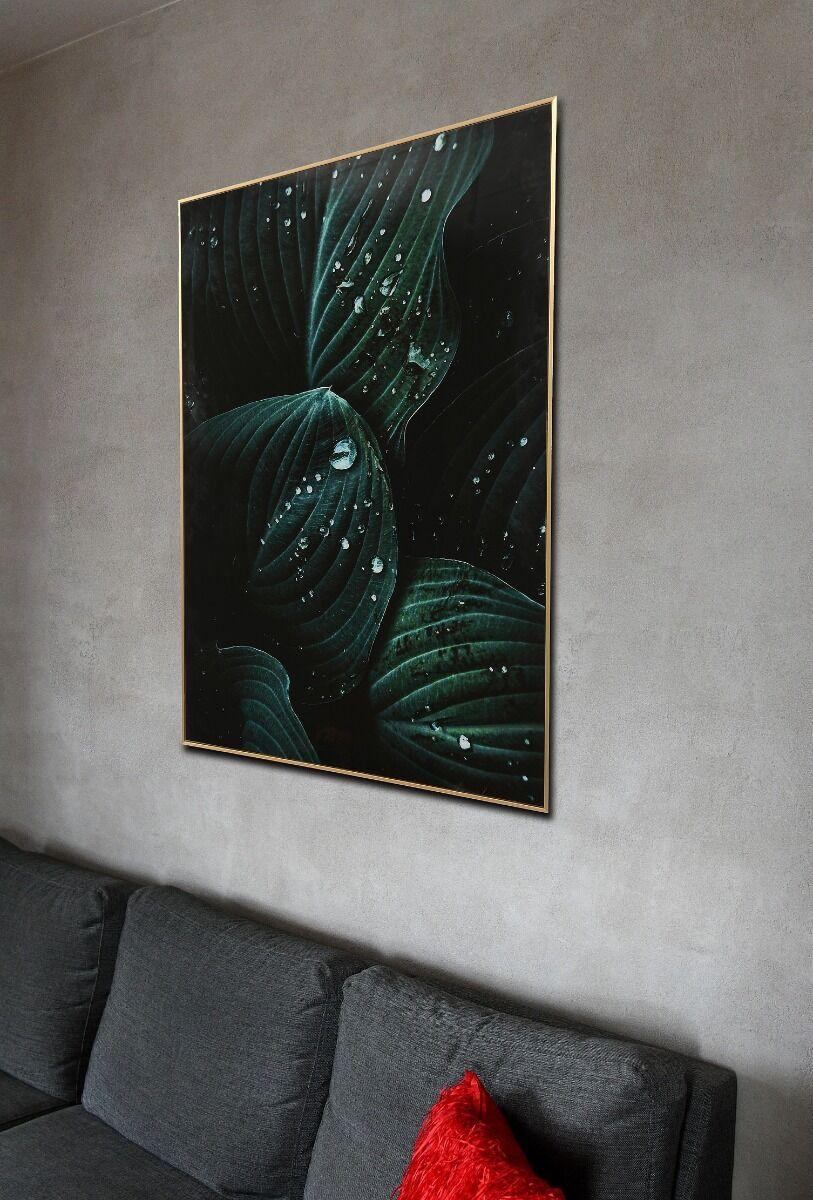 Reprodukcja na szkle Green Drops 70x100x3cm
