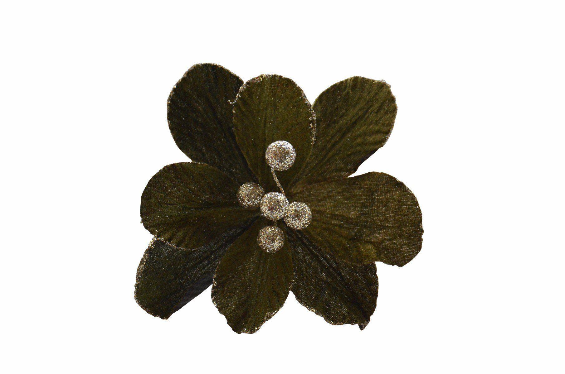 Zielony kwiat klips