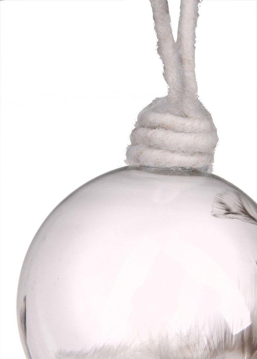 Bombka szkło z piórkiem 8cm