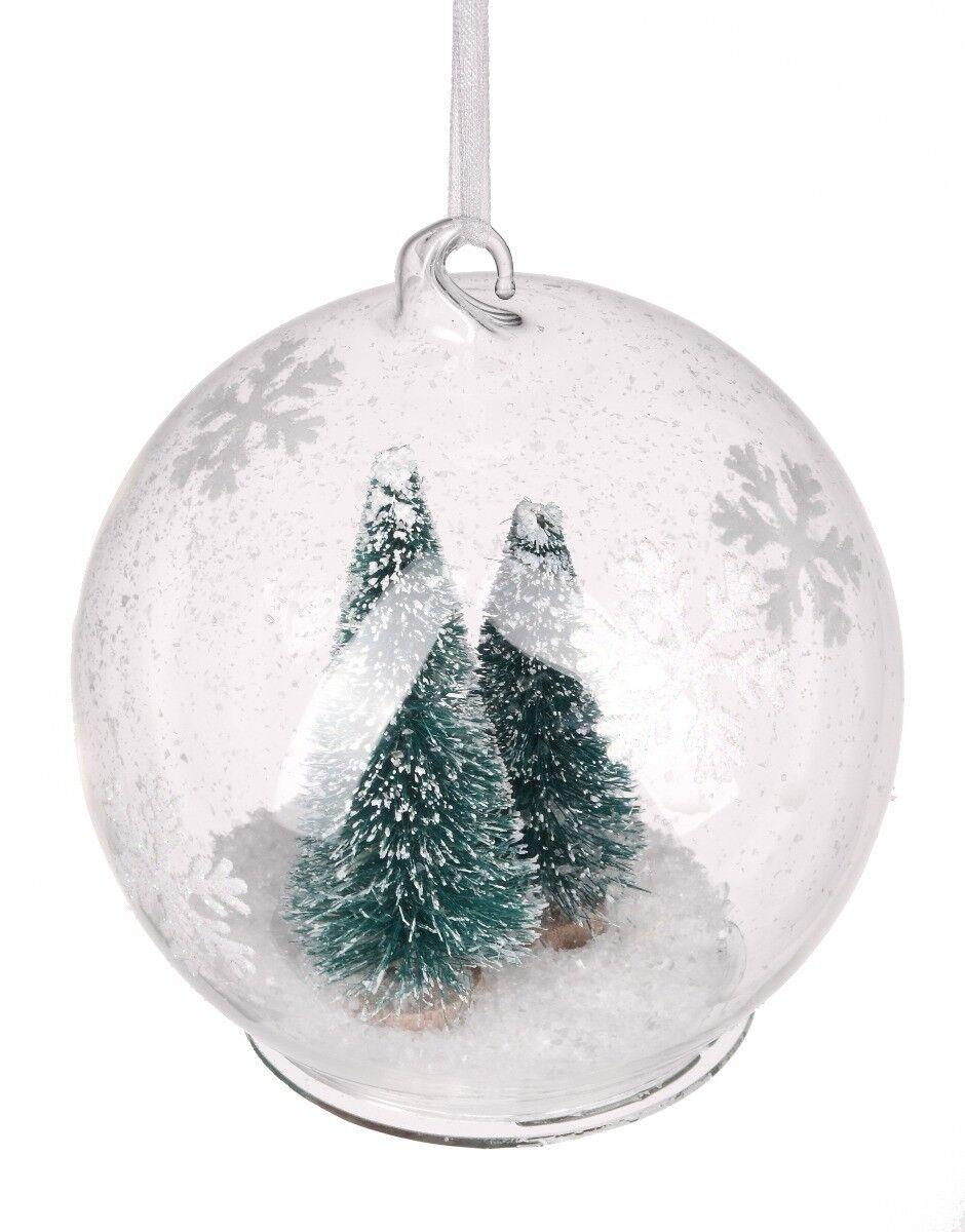 Bombka z transparentnego szkła z drzewkiem 9cm
