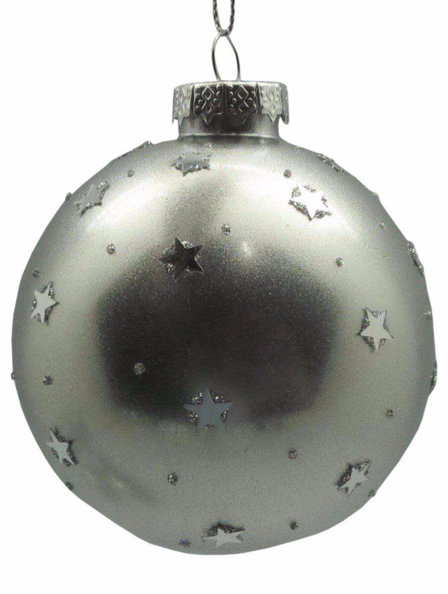 Srebrna bombka z gwiazdkami 8cm