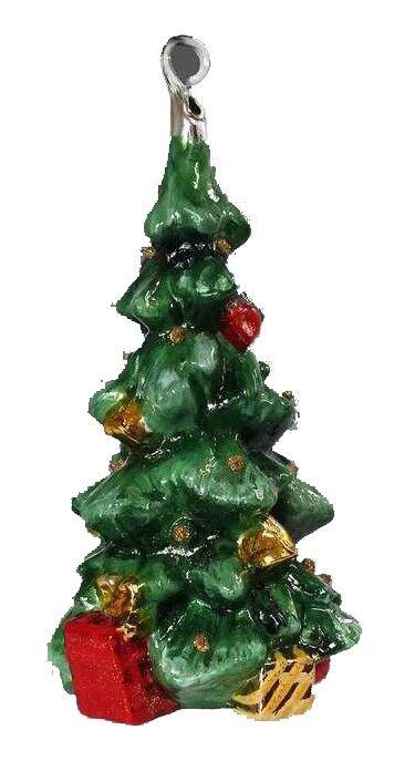 Ręcznie dekorowana szklana bombka zielona choinka 15cm
