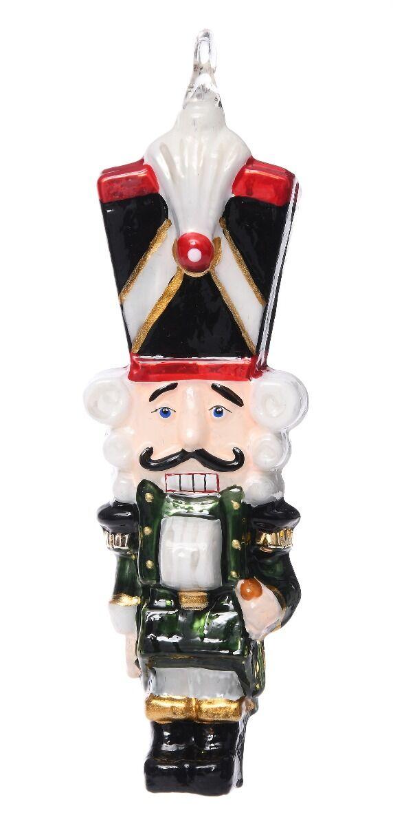 Ręcznie dekorowana szklana bombka dziadek do orzechów 14cm