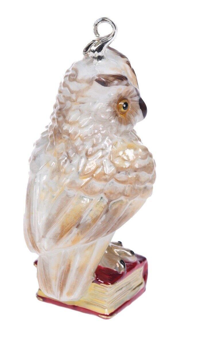 Ręcznie dekorowana bombka szklana sowa na książce 13cm