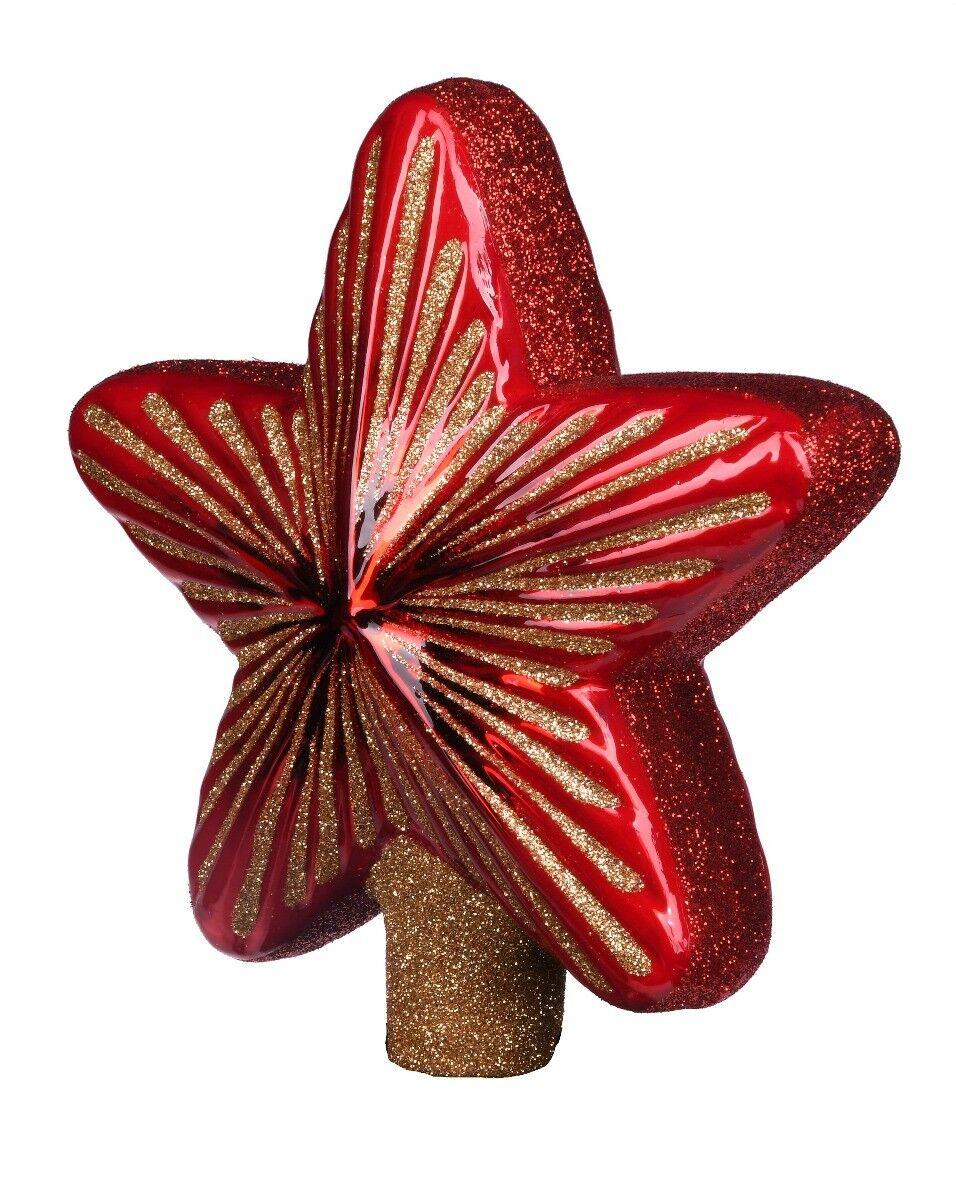 Czerwona bombka gwiazda 15cm