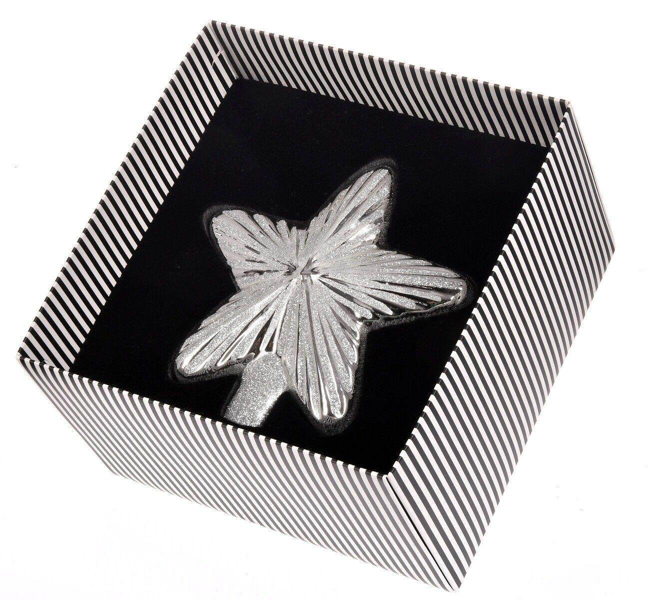 Ręcznie dekorowana bombka szklana gwiazda srebrna 15cm
