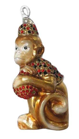 Ręcznie dekorowana bombka szklana małpka z kulą 11cm
