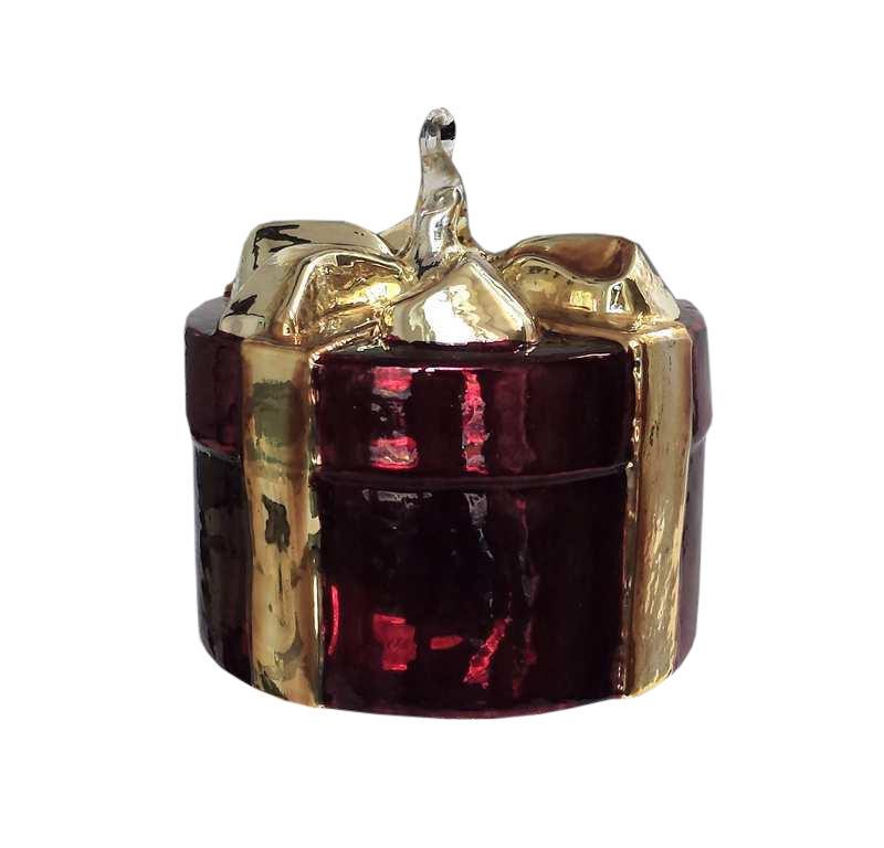 Ręcznie dekorowana bombka szklana paczka 9cm