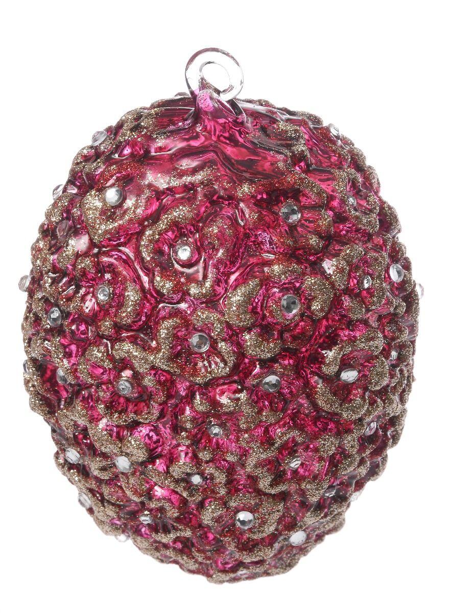 Ręcznie dekorowana bombka jajko kwiat 14cm