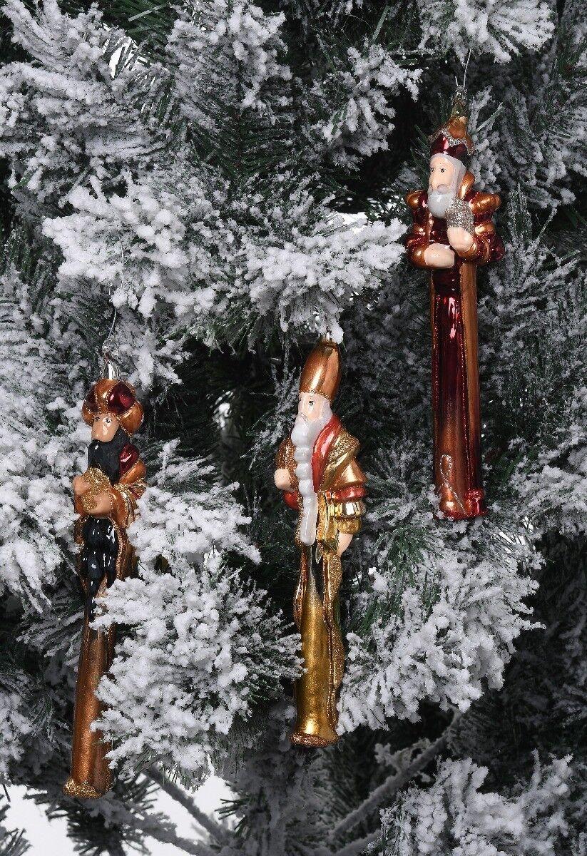 Zestaw ręcznie dekorowanych szklanych bombek Trzej Królowie