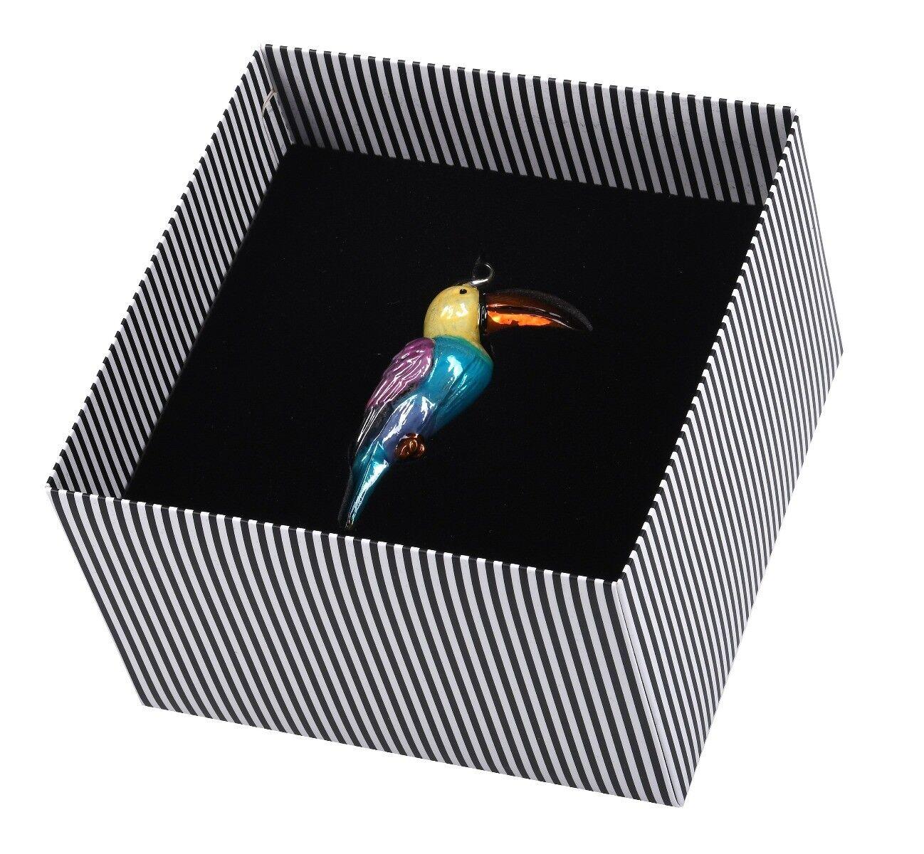 Ręcznie dekorowana szklana bombka tukan 12 cm