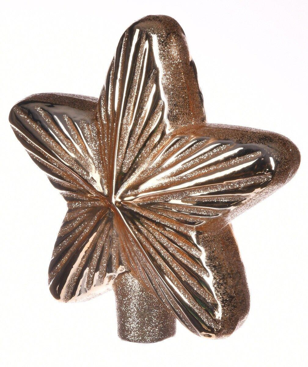 Ręcznie dekorowana szklana bombka gwiazda 15cm
