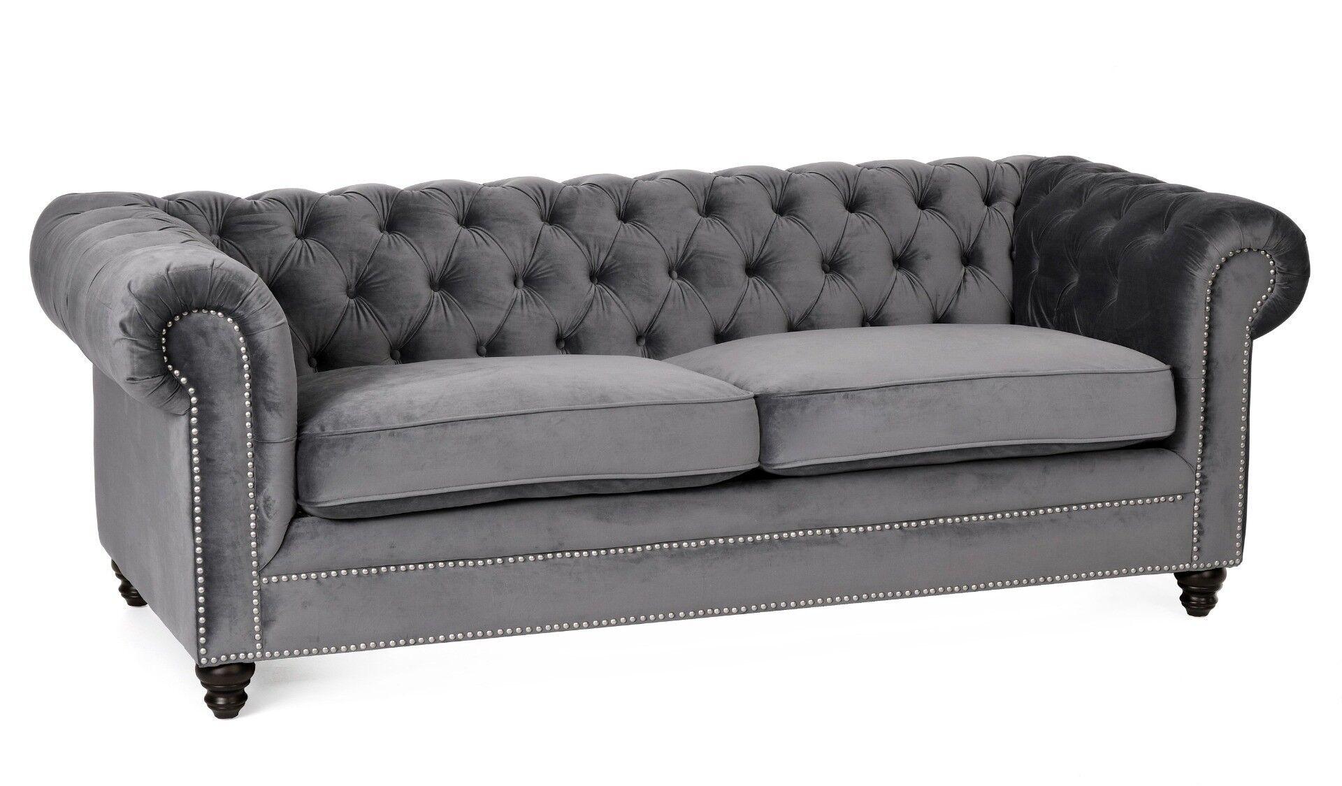 Szara sofa rozkładana Chester 220x96x78cm