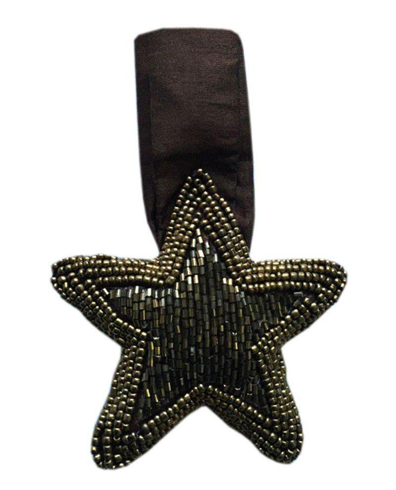 Ornament Gwiazda koraliki 10cm brązowy