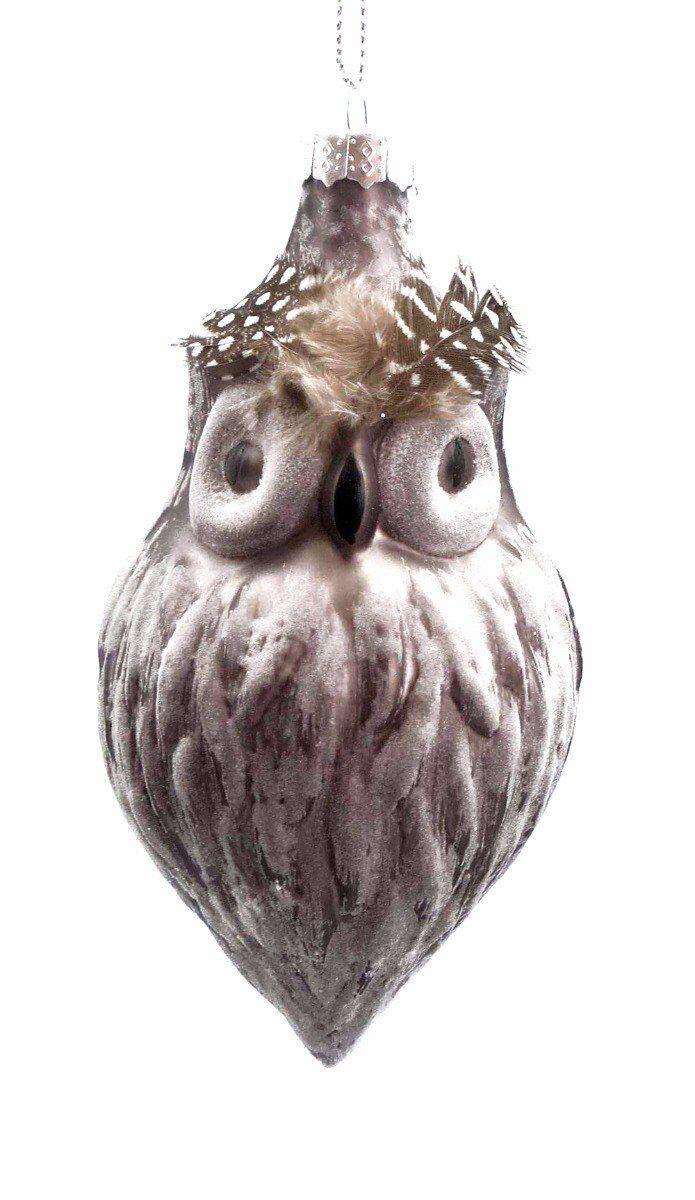Bombka Anton Owl 12cm szkło brązowa