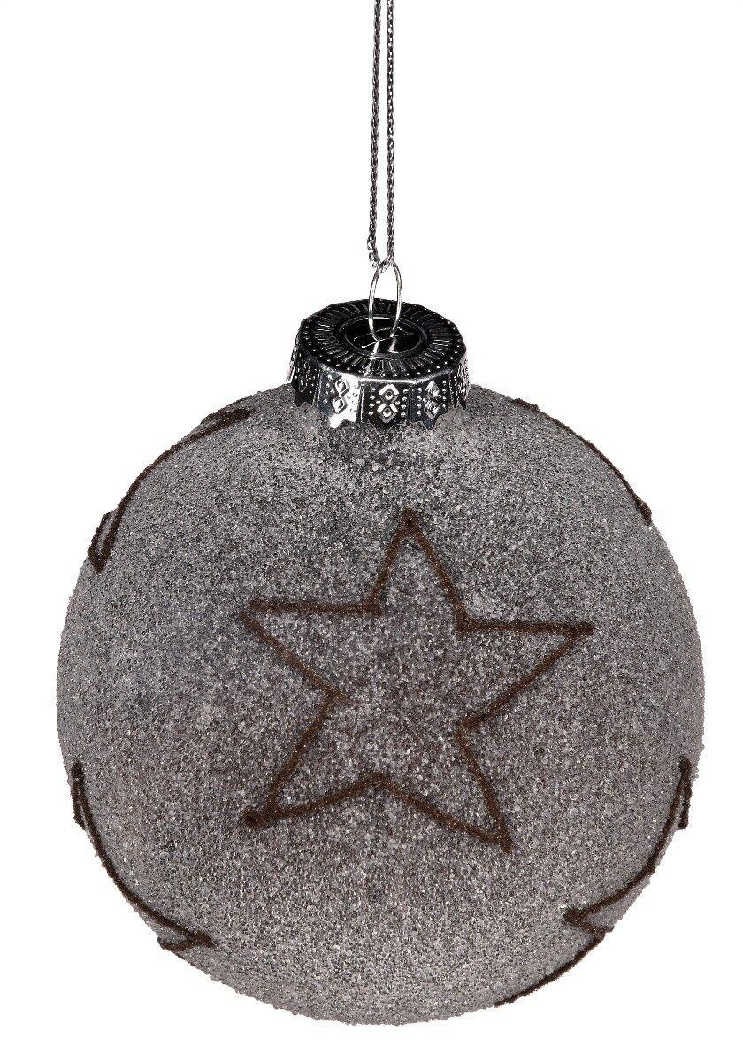 Szara bombka z gwiazdą 8cm