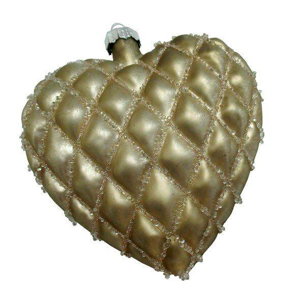 Złota bombka serce 9x10x3cm