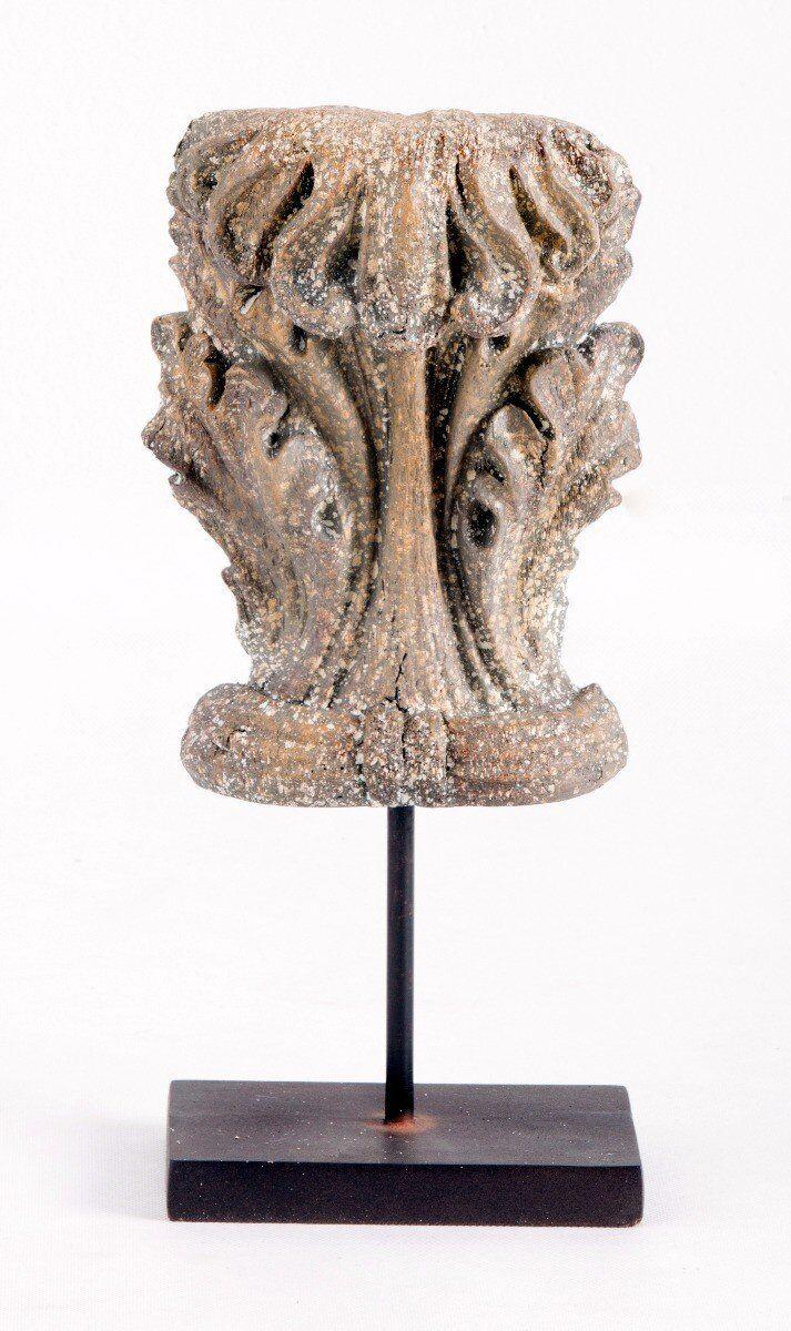 Figurka liść akantu dekoracyjny na podstawie 18x15x41cm