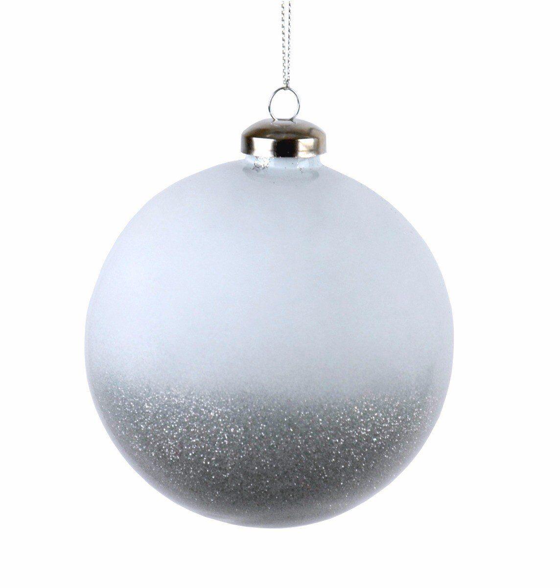 Biała bombka z brokatem 10cm