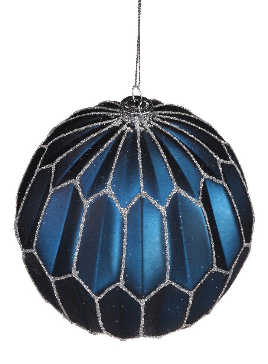 Granatowa bombka ze wzorem Hexagon  12cm