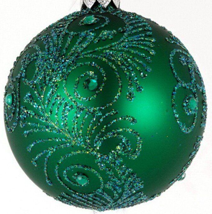 Bombka Aston 8cm szkło zielona brokat