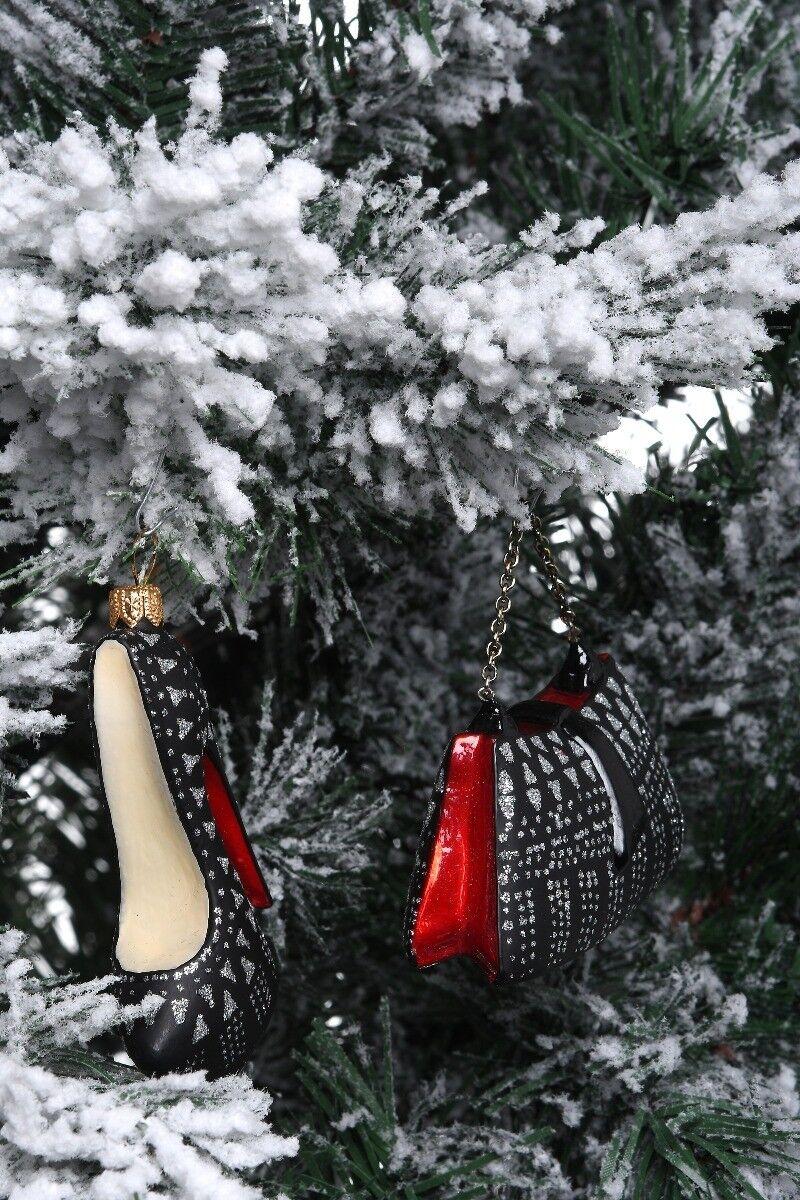 Ręcznie dekorowane bombki szklane but i torebka zestaw 15cm