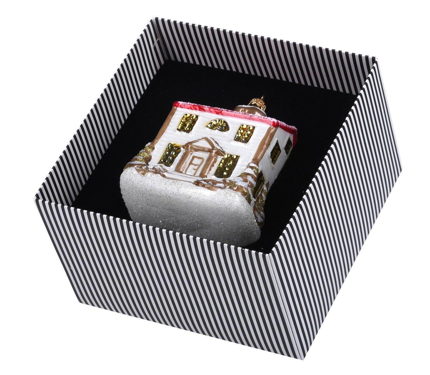 Ręcznie zdobiona bombka szklana chatka 14cm