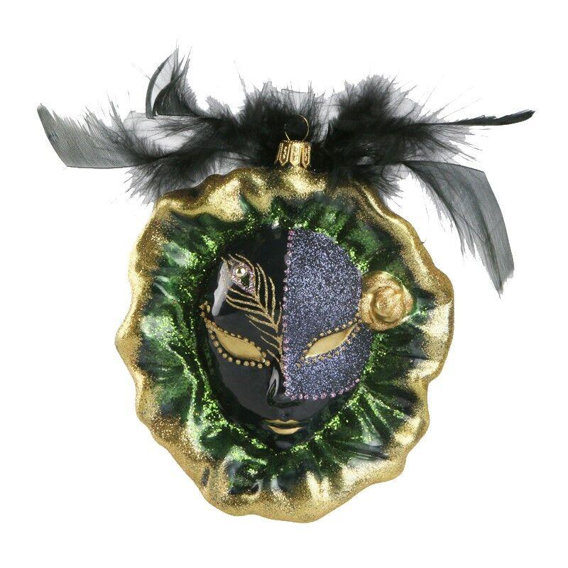 Ręcznie dekorowana szklana bombka maska 14cm