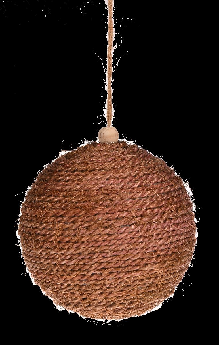 Brązowa bombka pleciona z juty 12cm