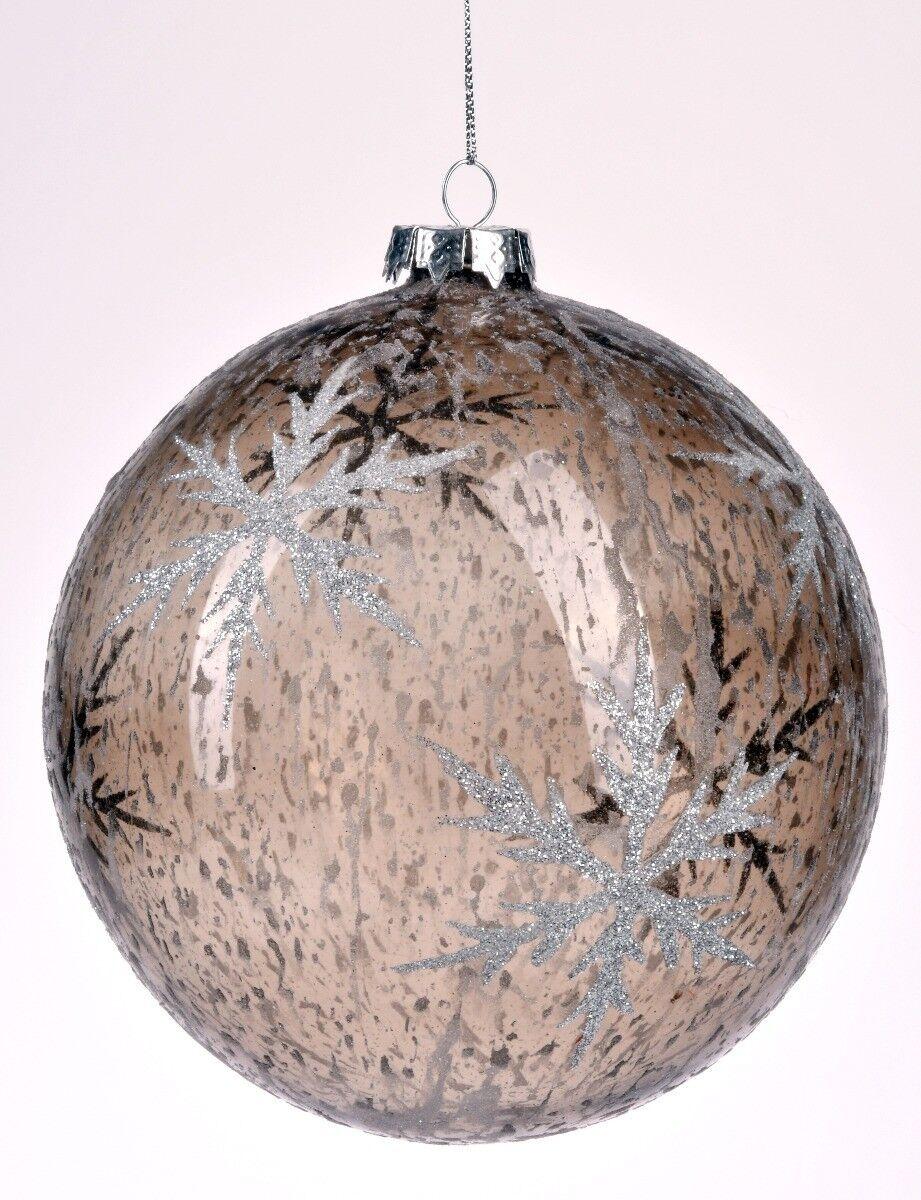 Szara bombka z gwiazdą 15cm
