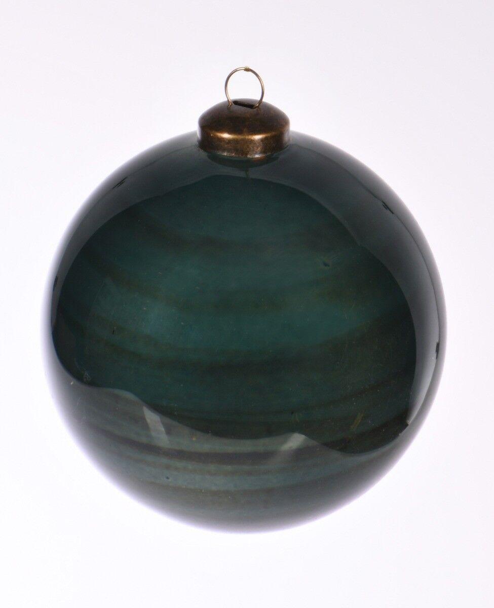 Niebieska bombka w pasy 10cm