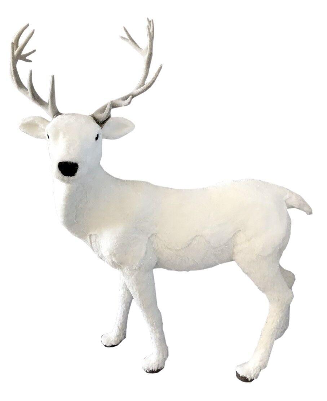 Biały jeleń stojący 113x60x150cm