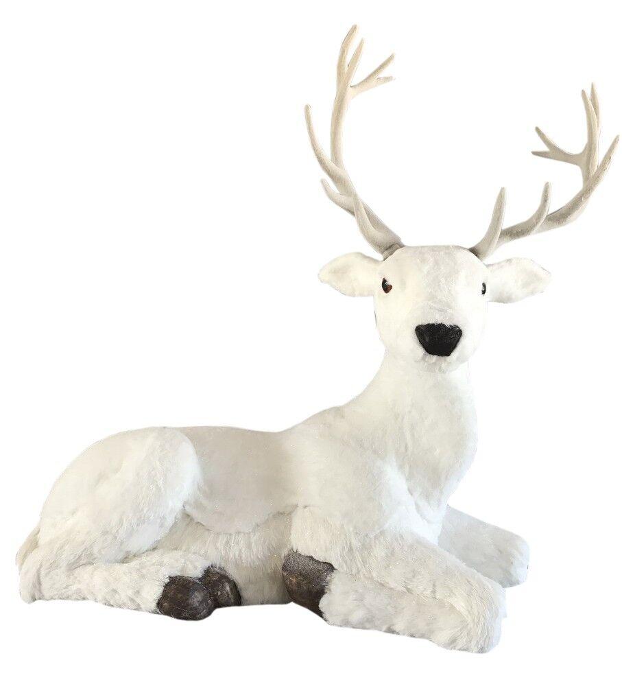 Biały jeleń leżący 108x59x96cm