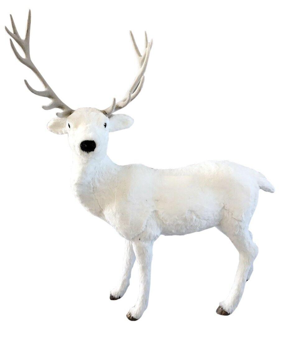 Biały jeleń stojący 92x37x115cm