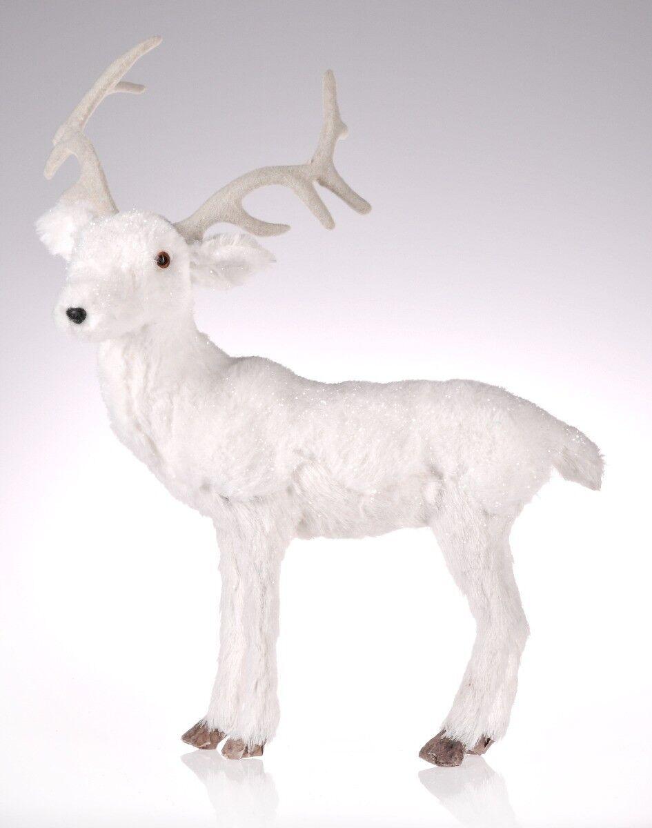 Biały jeleń stojący 39x22x44cm