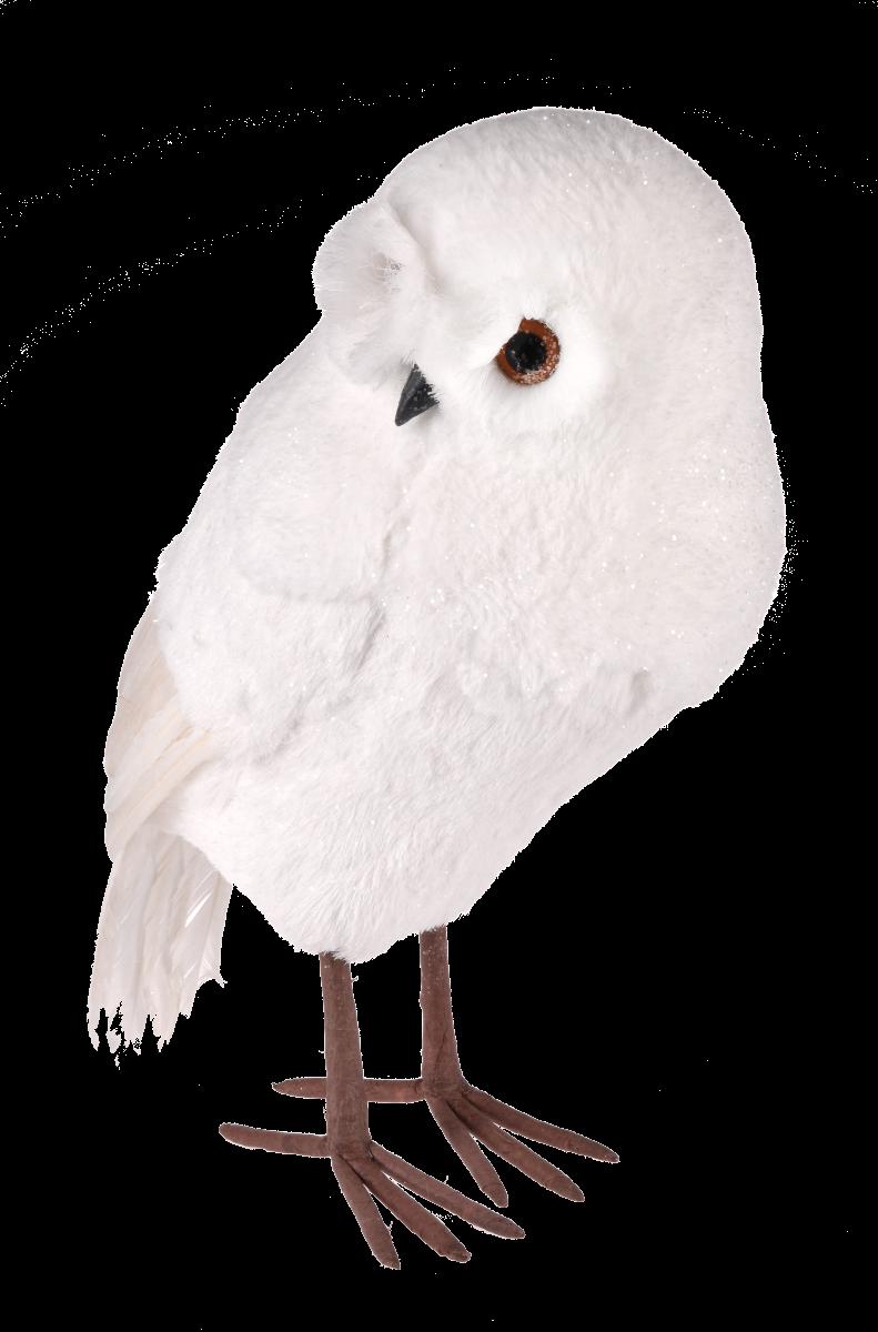 Biała sowa White Forest M 17x15x28cm