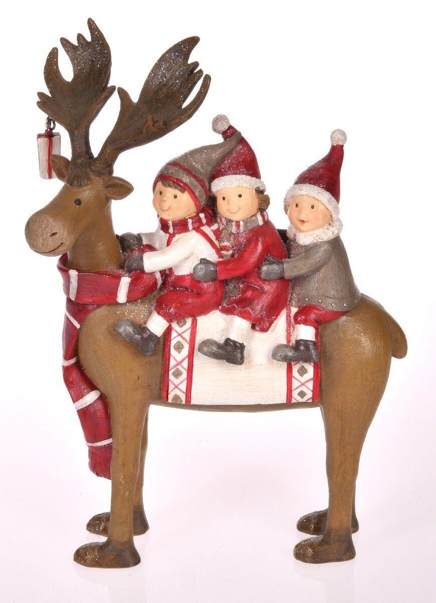 Figurka Renifer z dziećmi 15x7x22 cm